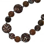 Sterling Silver 17 Inch Agate/Gold & Black Crystal/Mother of Pearl Necklace