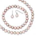 Sterling Silver Pink/Grey 7-8mm Fresh Water Cultured Potato Pearl 3 Piece Gift Set