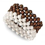 Sterling Silver White/Chocolate 6-7mm Fresh Water Cultured Potato Pearl Stretch Bracelet
