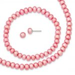 Sterling Silver Rose 6-7mm Fresh Water Cultured Pearl Set