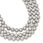 Sterling Silver 8-8.5mm Fresh Water Cultured Pearl Grey Necklace