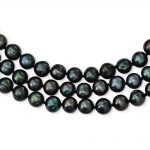 Sterling Silver 8-8.5mm Fresh Water Cultured Pearl Black Necklace