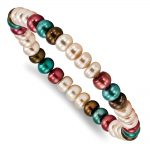 SS Fresh Water Cultured 6-7mm Pearl Peach/Chocolate/Teal/Burgundy Stretch Bracelet