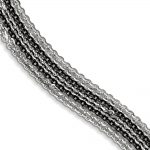 Sterling Silver Rhodium & Ruthenium-plated Multi Strand Bracelet