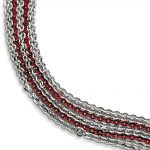 Sterling Silver Rhodium & Red Plated Multi Strand Bracelet