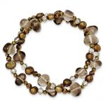 FreshWater Cultured Pearls, Crystal And Quartz 2-strand Stretch Bracelet