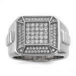 Sterling Silver & CZ Brilliant Embers Polished Mens Ring