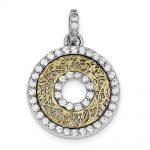 Sterling Silver CZ & Vermeil Circle Pendant