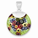 Sterling Silver Multicolored Glass Polished Fancy Round Pendant