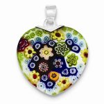 Sterling Silver Multicolored Glass Polished Fancy Heart Pendant
