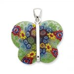 Sterling Silver Multicolored Glass Polished Fancy Butterfly Pendant