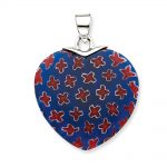 Sterling Silver Blue & Red Glass Stone Polished Heart Pendant