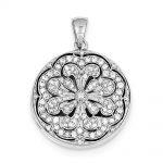 Sterling Silver CZ Circle w/ Flower Design Locket Pendant