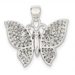 Sterling Silver Polished & Textured Butterfly Pendant