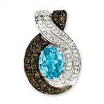 Sterling Silver Light Swiss Blue Topaz & Diamond Pendant