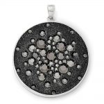 Sterling Silver Rhodium Black Clay & Preciosa Crystal Round Pendant