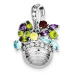 Sterling Silver Multi-colored Gemstone Basket Pendant/ Pin