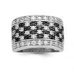 Sterling Silver Rhodium Black & White CZ Checkerboard Ring
