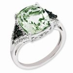 Sterling Silver Diamond & Green Quartz Ring