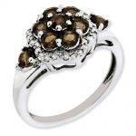 Sterling Silver Diamond & Smokey Quartz Gemstone Ring