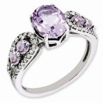 Sterling Silver Diamond & Oval Pink Quartz Ring