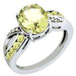 Sterling Silver Diamond & Lemon Quartz Ring