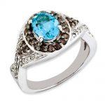 Sterling Silver Light Swiss Blue Topaz and Smokey Quartz & Diamond Ring