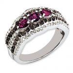 Sterling Silver Rhodolite Garnet and Smokey Quartz & Diamond Ring