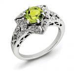 Sterling Silver Peridot & Diamond Ring