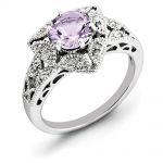 Sterling Silver Pink Quartz& Diamond Ring
