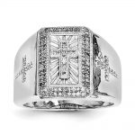 Sterling Silver Rhodium Plated Diamond Cross Men's Ring