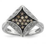 Sterling Silver Champagne Diamond & Diamond Shape Ring