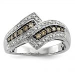 Sterling Silver Champagne Diamond Fancy Two Lined Ring