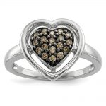 Sterling Silver Champagne Diamond Heart Ring