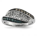 Sterling Silver White, Champagne & Blue Diamond Antiqued Ring