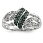 Sterling Silver White & Blue Diamond Ring