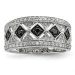 Sterling Silver Black/White Diamond Ring