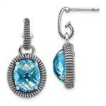 Sterling Silver W/14k Two-tone Gold Antiqued Blue Topaz Post Dangle Earrings