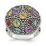 Sterling Silver w/14k Gold Antiqued Multi Gemstone Ring