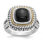 Sterling Silver w/14k Gold Cabochon Onyx Ring