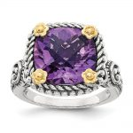 Sterling Silver w/14k Yellow Gold 4.10Amethyst Ring