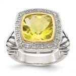 Antique Style Sterling Silver 5.03 Lemon Quartz & 1/10ct. Diamond Ring