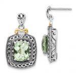 Antique Style Sterling Silver Diamond & Green Quartz Earrings