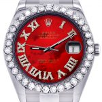 Rolex Datejust II Watch / 41 MM / Custom Red Pearl Roman Dial / Oyster Band