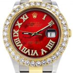 Rolex Datejust II Watch / 41 MM / 18K Yellow Gold & Stainless Steel / Custom Red Pearl Roman Dial / Oyster Band