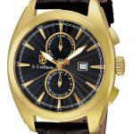 S. Coifman Swiss Movement Quartz Watch – Gold case with Black tone Leather band – Model SC0133