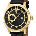 S. Coifman Swiss Movement Quartz Watch – Gold case with Black tone Leather band – Model SC0192