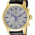 S. Coifman Quartz Watch – Gold case with Black tone Leather band – Model SC0220
