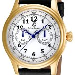 S. Coifman Swiss Movement Quartz Watch – Gold case with Black tone Leather band – Model SC0277