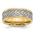 Men's Stainless Steel Yellow IP-plated Brushed & Polished Wedding Band Ring